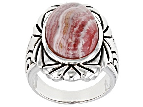 Rhodochrosite Rhodium Over Silver Solitaire Ring
