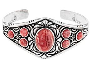 Rhodochrosite Rhodium Over Silver Floral Cuff Bracelet
