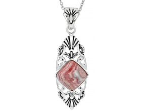 Rhodochrosite Rhodium Over Silver Enhancer With 18