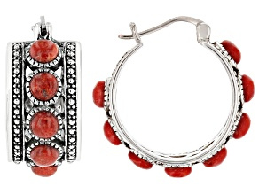 Red Coral Cabochon Rhodium Over Silver Hoop Earrings