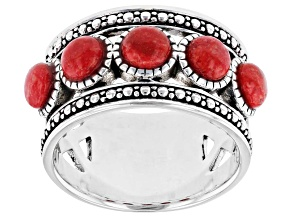 Red Coral Cabochon Rhodium Over Silver Band Ring
