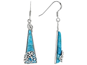 Turquoise Rhodium Over Silver Leaf Overlay Dangle Earrings