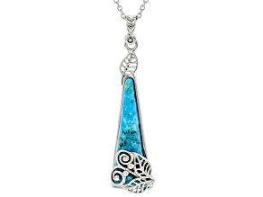 Turquoise Rhodium Over Silver Pendant With 18