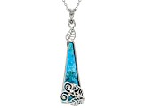"Turquoise Rhodium Over Silver Pendant With 18"" Chain"
