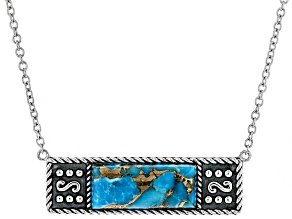 Turquoise Rhodium Over Silver Bar Necklace