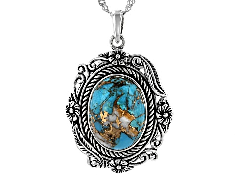 Blended Turquoise And Shell Rhodium Over Silver Pendant With 18