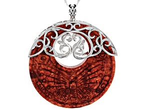 "Carved Red Coral Rhodium Over Silver Filigree Enhancer With 18"" Chain"