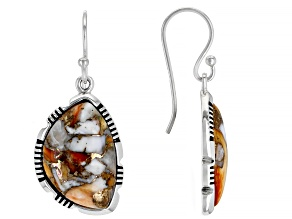 Spiny Oyster Shell Rhodium Over Silver Earrings