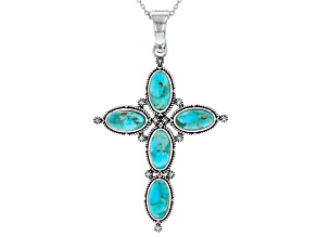 Turquoise Rhodium Over Silver Cross Enhancer With 18