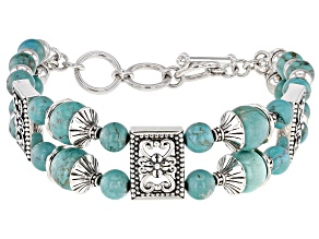 Turquoise Bead Rhodium Over Silver Multi-Row Bracelet