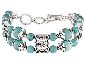 Turquoise Bead Rhodium Over Silver Multi-Row Bracelet