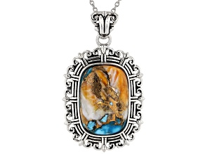 "Blended Turquoise And Shell Rhodium Over Silver Pendant With 18"" Chain"