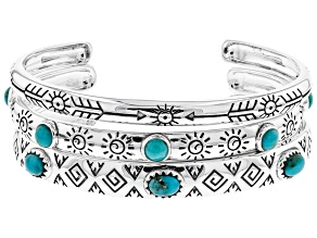 Turquoise Rhodium Over Silver Cuff Bracelet Set Of Three