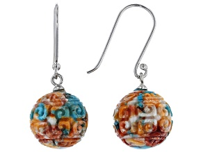 Carved Blended Turquoise And Spiny Oyster Shell Rhodium Over Silver Earrings