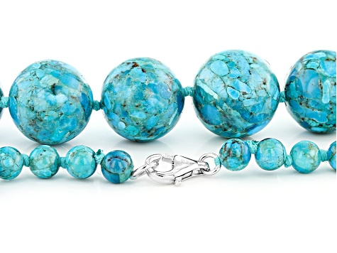 Turquoise Bead Rhodium Over Silver Graduated Necklace