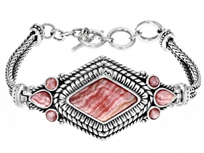 Mixed Shapes Rhodochrosite Rhodium Over Silver Bracelet