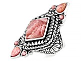 Rhodochrosite Rhodium Over Silver Ring
