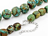 Turquoise Bead Rhodium Over Sterling Silver Necklace