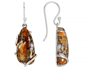 Spiny Oyster Shell  Rhodium Over Silver Dangle Earrings