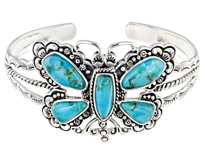 Turquoise Rhodium Over Silver Dragonfly Cuff Bracelet