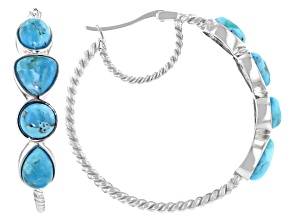 Turquoise Rhodium Over Silver Hoop Earrings