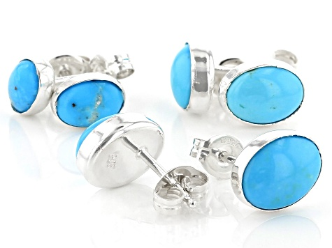 Sleeping Beauty Turquoise Silver Stud Earrings Set Of Three