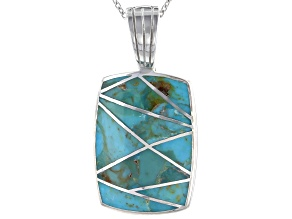 "Inlaid Turquoise Rhodium Over Sterling Silver Enhancer With 18"" Chain"