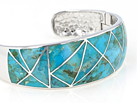 Inlaid Turquoise Rhodium Over Sterling Silver Cuff Bracelet