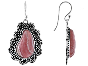 Rhodochrosite Rhodium Over Silver Paisley Design Dangle Earrings
