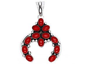 Red Coral Sterling Silver Naja Pendant