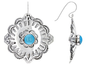 Sleeping Beauty Turquoise Cabochon Silver Floral Dangle Earrings