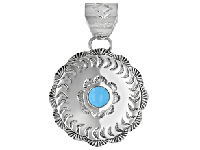 Sleeping Beauty Turquoise Silver Floral Pendant