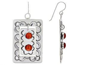 Spiny Oyster Shell Cabochon Silver Dangle Earrings