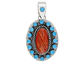 Spiny Oyster Shell & Round Sleeping Beauty Turquoise Silver Pendant