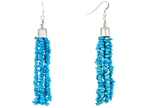 Sleeping Beauty Turquoise Chips Sterling Silver Dangle Earrings