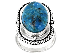 Turquoise Cabochon Rhodium Over Silver Solitaire Ring