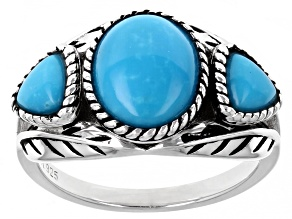 Sleeping Beauty Turquoise Rhodium Over Silver 3-Stone Ring