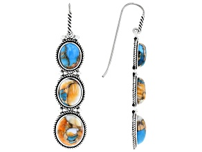 Blended Turquoise And Spiny Oyster Shell Rhodium Over Silver Dangle Earrings