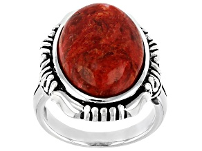 Coral Cabochon Rhodium Over Silver Solitaire Ring