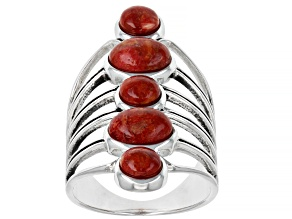 Red Coral Cabochon Rhodium Over Silver Ring