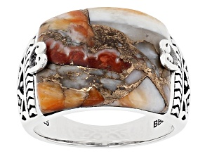 Spiny Oyster Shell Rhodium Over Silver Ring