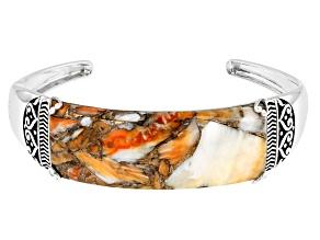 Spiny Oyster Shell Rhodium Over Silver Bracelet