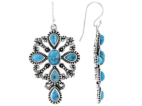 Turquoise Rhodium Over Silver Cross Dangle Earrings