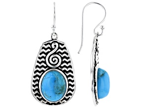 Turquoise Cabochon Rhodium Over Silver Dangle Earrings