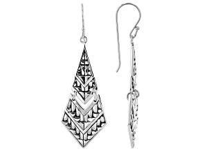 Rhodium Over Sterling Silver Dangle Earrings
