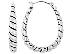 Rhodium Over Silver Hoop Earrings