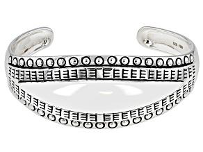 Rhodium Over Sterling Silver Detailed Bracelet