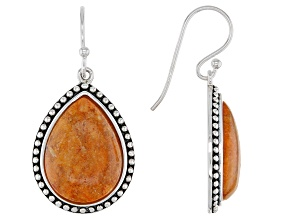 Orange Pear Shaped Sponge Coral Rhodium Over Sterling Silver Dangle Earrings