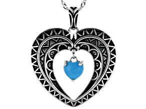 Sleeping Beauty Turquoise Rhodium Over Silver Heart Pendant With Chain
