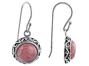 Rhodochrosite Rhodium Over Silver Dangle Earrings